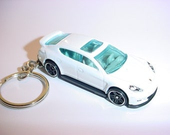 3D Porsche Panamera custom keychain by Brian Thornton keyring key chain finished in White