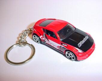 3D Nissan 370Z custom keychain by Brian Thornton keyring key chain finished in red color trim greddy