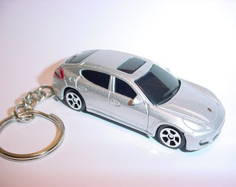 3D Porsche Panemera custom keychain by Brian Thornton keyring key chain finished in silver color trim diecast metal body