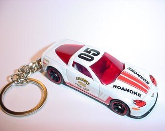 3D Chevrolet Corvette custom keychain by Brian Thornton keyring key chain finished in roanoke fire dept racing colors trim metal body
