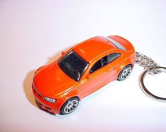 3D BMW M1 custom keychain by Brian Thornton keyring key chain finished in orange color trim one series