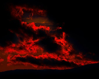 Red and Black Sunset Panoramic Fine Art Photography, Dark Theme, Horizontal Panorama, Large Wall Art, Clouds, Mountains and Sun