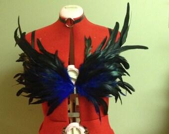 Blue feather fetish kink rave bra