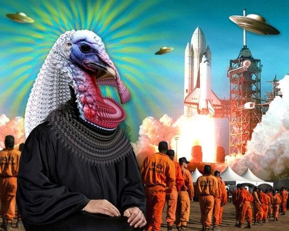 TEA014: Turkey Judge - Surreal, Metaphysical, Space, Collage Art, Prisoners, Justice, Astronomy, UFO, Ancient Aliens, Judgement, Rocket