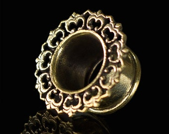 Brass lotus ear tunnel 8mm-0g. plugs gauges. 0g tunnel. ear gauges. tribal ear tunnel.