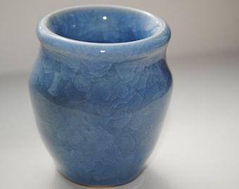 Light Blue Snowflake Crystalline Miniture Vase