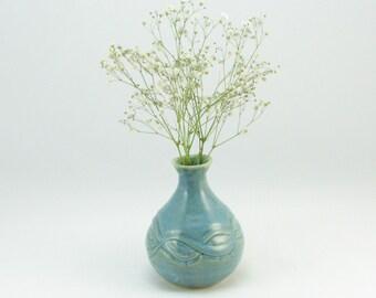 Ocean blue bud vase with carving