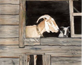 Two Goats watercolor limited edition print