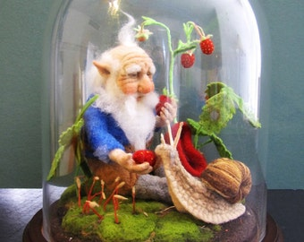 SOLD - Woodland GNOME With SNAIL - Handmade Wool Needle Felted Figures in Glass Dome