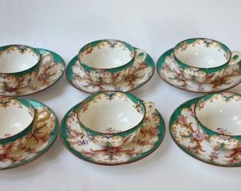 6 cups Sarreguemines way Minton decor number 147