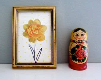 Frame narcissus and yellow dots - collage - flowers - handmade