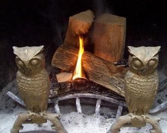 Cast Iron Owl Andirons