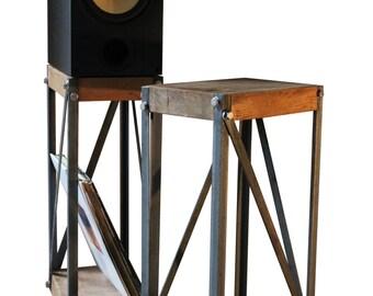 KONK! - Oak/Steel Industrial Speaker Stands (PAIR) [Bespoke sizes available!]