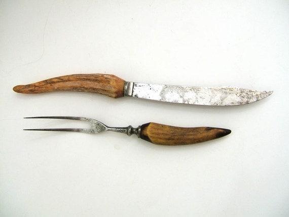 Antique Antler Handle Carving Set Knife And Fork Set