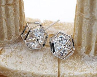 Small globular crystal earrings