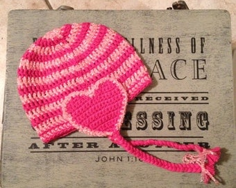 Girls heart beanie, earflap with braids, any size