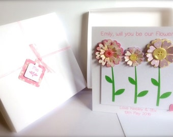 """Handmade """"Will you be our Flowergirl"""" Card, Boxed"""