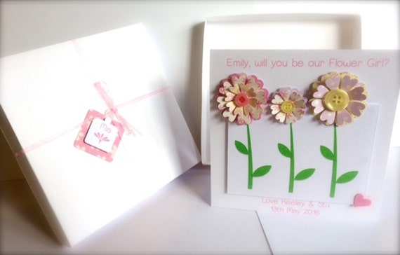 "Handmade ""Will you be our Flowergirl"" Card, Boxed"