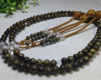 Juzu japanese nenju,High quality green sandalwood,quartz stone parent beads,with yellow woven balls