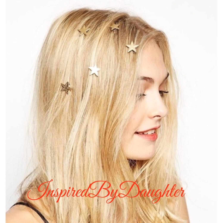 Hair Stars 18K Gold Plated Star Hair Pin Bridal Silver Spiral