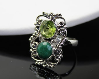Emerald and Peridot  Ring, Sterling Silver Ring , Gemstone Ring