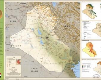 24x36 Poster; Cia Iraq Summary Map 1994