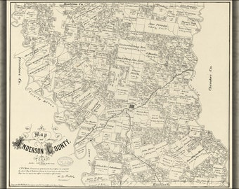 24x36 Poster; Map Of Anderson County, Texas 1879