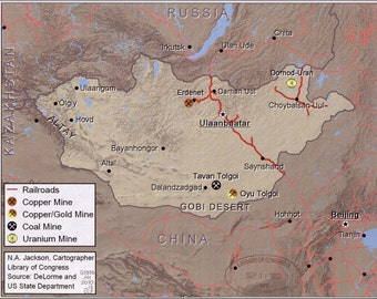 24x36 Poster; Map Of Mongolia Mines & Railroads 2010
