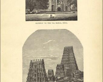 24x36 Poster; Taj Mahal & Temple Of Juggernaut India 1881