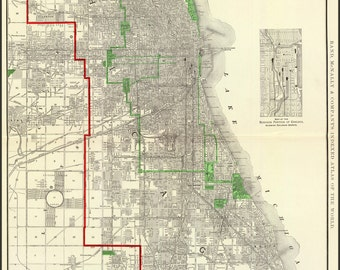 24x36 Poster; 1897 Map Of Chicago (Reproduction)