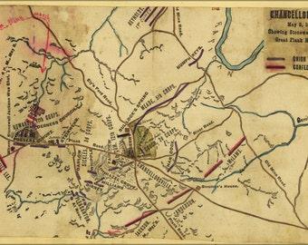 24x36 Poster; Map Battle Of Chancellorsville Stonewall Jackson