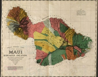 24x36 Poster; Map Of Maui Hawaii 1885