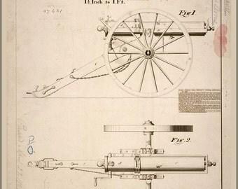 24x36 Poster; Gatling Gun Patent