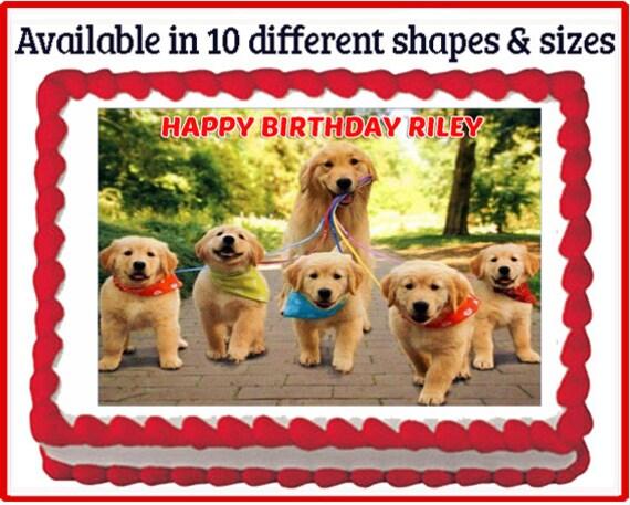 Golden Retriever Puppy Dog Edible Birthday Party Cake Or