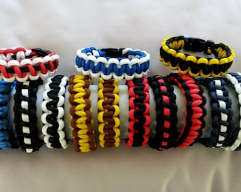 Adult / Child Paracord Survival bracelet, Cobra weave, Custom made in your team colours 6 - 10 inches (15cm - 25cm)