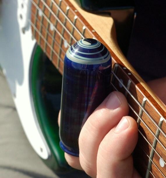 glass guitar slide hand blown glass cobalt blue closed end. Black Bedroom Furniture Sets. Home Design Ideas