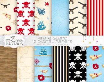 Pirate island - 12 red and blue digital papers - INSTANT DOWNLOAD