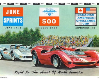 Vintage Reproduction Racing Poster 1967 Elkhart Lake June Sprints Can-Am