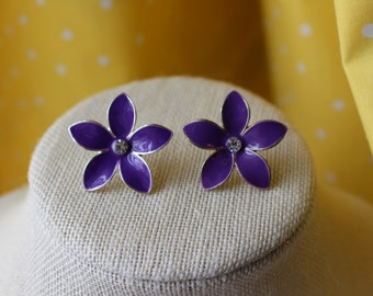 Large Metal Purple Flower Stud Earrings