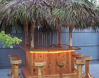 TIKI BAR - 6 x 6'  Custom Red Cedar Tiki Kev Tiki Bar