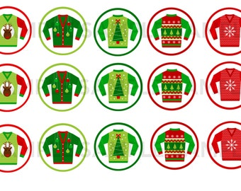 Ugly Christmas Sweater party - Digital Collage Sheet - One inch circles