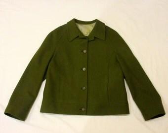 1960's Ann Freedberg Vintage Forest Green Outerwear Jacket