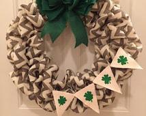 Chevron st paddys day wreath