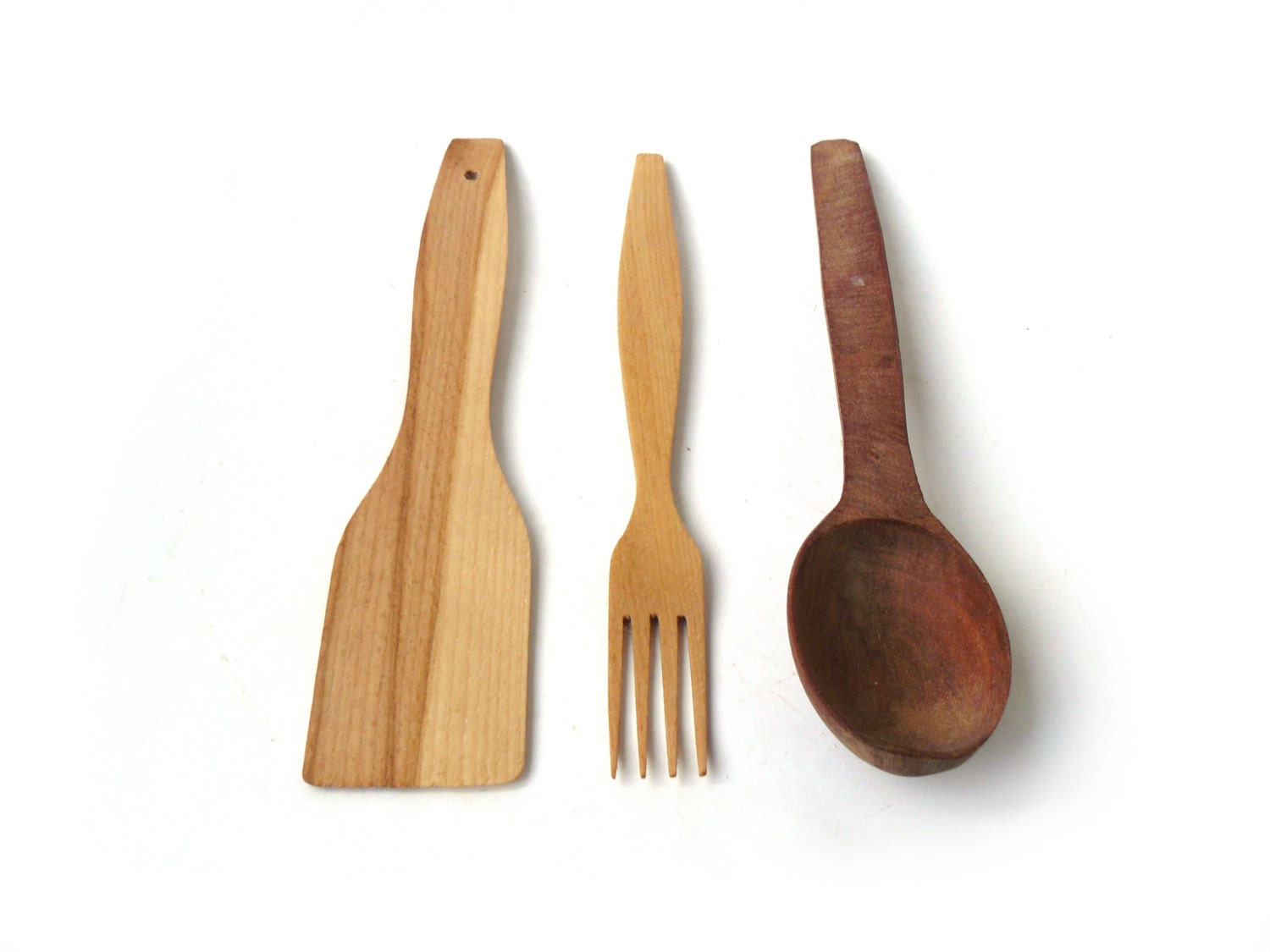 wooden kitchen set fork and spoon blade vintage by nostalgishop. Black Bedroom Furniture Sets. Home Design Ideas