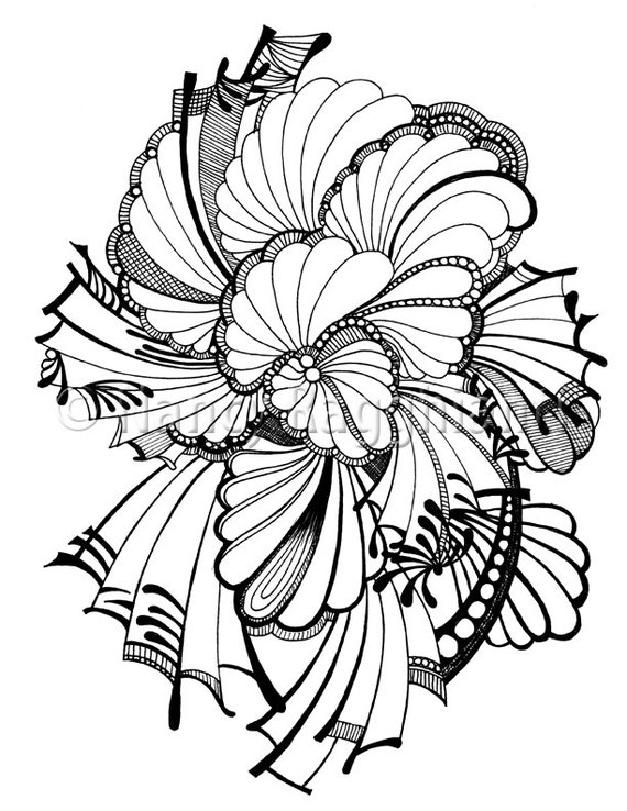 Printable Coloring Page Digital Download Abstract Feather