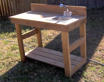Brand New 4 Foot Cedar Potting Bench with Sink - Free Shipping
