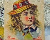Victorian Trade/Advertising Card,Fores Floewr Cologne, Oswego and NYC NY, Little Girl in Hat, Art, Scrapbooking, Framing, Crafts  #59 ok