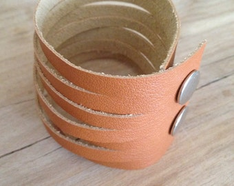 natural tan soft leather bracelet wrap cuff with snap closure