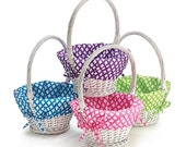 White Easter or Craft Basket Baskets Pastel Spring Colors Cloth Liners