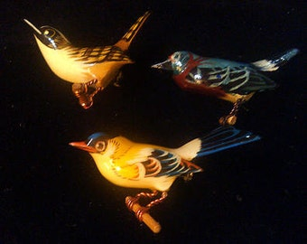 TAKAHASHI  BIRD BROOCHES carved in wood